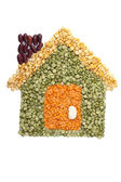 Assorted beans forming a house — Stock Photo