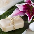 Stock Photo: Bar of soap and flower