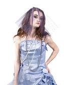 Beautiful young woman in fairy costume posing — Stock Photo
