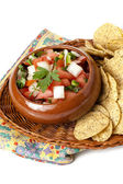 Fresh salsa dip with nacho chips — Stock Photo