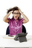 Frustrated businesswoman pulling her hair — Stock Photo