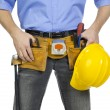 Man with tool belt and helmet — Stock Photo