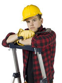 Handyman with hammer — Stock Photo