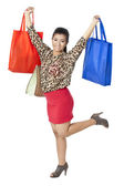 Mujer feliz con sus bolsas de compras — Foto de Stock