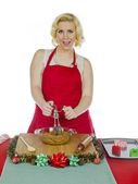 Woman making christmas cookies — Stock Photo