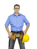 Man with construction tools — Stock Photo