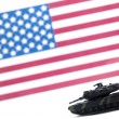 Stock Photo: Military tracked vehicle in front of usa flag