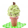 Mint choco chip ice cream cone — Stock Photo