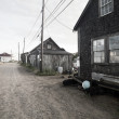 Old huts along dirt road at marthas vinyard — Stock Photo