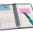 Open notebook with writing instrument — Stock Photo #17216549