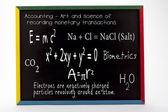Mathematical and scientific formulas written on slate board — Stock Photo