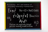 Mathematical and scientific formulas written on slate board — Stock Photo