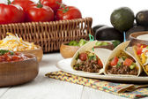 Mexican taco and its ingredients — Stock Photo