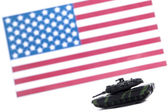 Military tracked vehicle in front of usa flag — Stock Photo