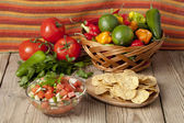 Nachos and mexican salsa — Stock Photo