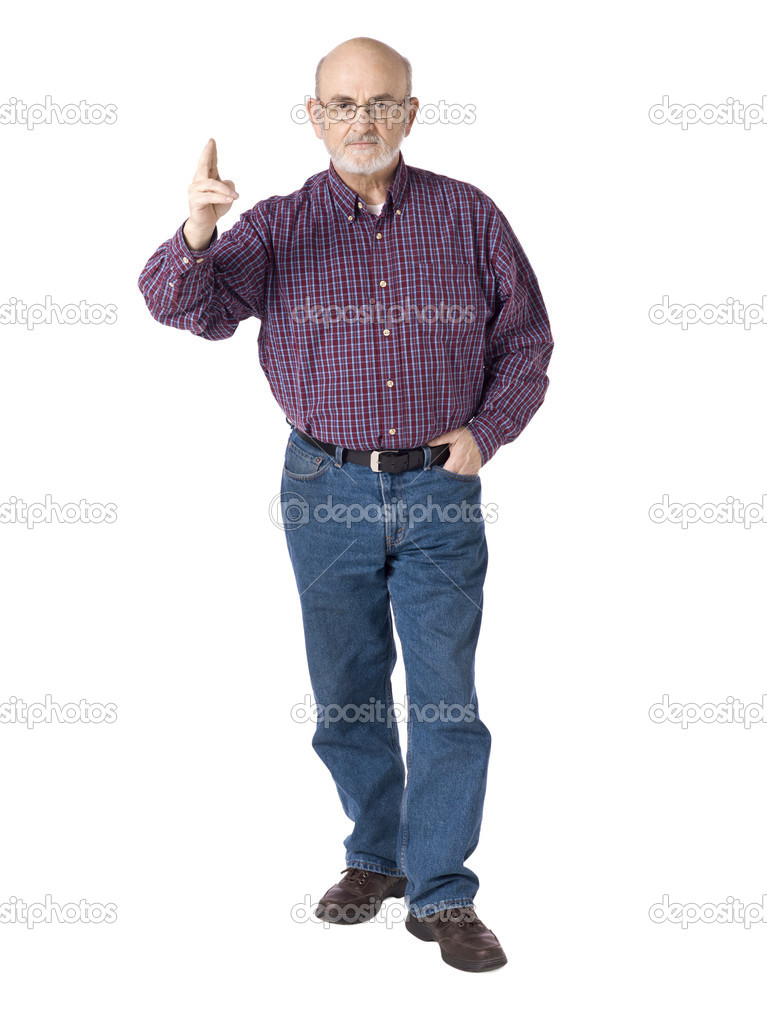 Old man standing and gesturing a pose stock photo for Homme debout meuble