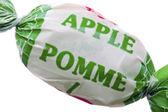 Gedetailleerd beeld van een apple smaak snoep op wit — Stockfoto