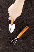 Digging soil close up — Stock Photo