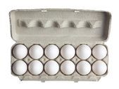 Dozen of eggs in carton box — Stock Photo