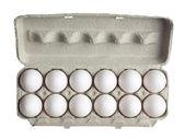 Dozen of eggs in carton box — Stock Photo