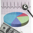 Electrocardiogram with a stethoscope dollar notes — Stock Photo