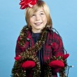 Elementary boy with christmas decorations — Stock Photo #17361609