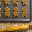 Gingerbread cookies and rolling pin - Stock Photo