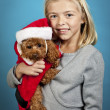Girl with christmas puppy — Stock Photo