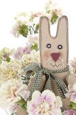Påsk kanin med nejlikor blommor — Stockfoto