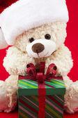 Festive teddy — Stock Photo