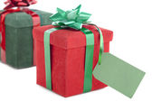 Gift box with empty placard — Stock Photo