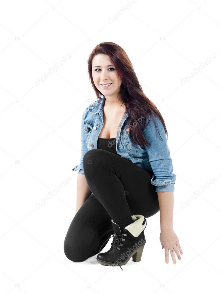 Casual Young Woman Crouching Stock Photo & More Pictures