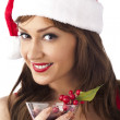 Stock Photo: Gorgeous womwearing santhut with red wine