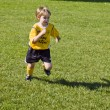 Little soccer player running in field — Stock Photo #17430713