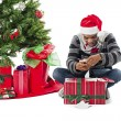 Man opening present — Stock Photo