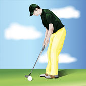 Male golf player vector — Stock Photo