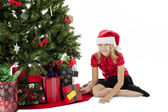 Portrait of a girl with her christmas present — Stock Photo