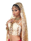Portrait of indian bride posing on white background — Stock Photo