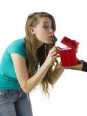 Woman receiving gift — Stock Photo