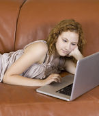 Woman on laptop — Stock Photo