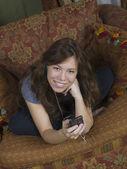 Happy teen mit musik — Stockfoto