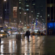 Streets of new york at night - Stock Photo
