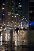 Streets of new york at night — Stock Photo