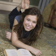 Reading poetry on floor — Stock Photo #18360195