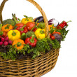 Basket arrangement full of vegetables — Stock Photo