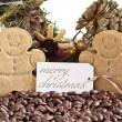 Christmas decoration with cookies and coffee beans — Stock Photo