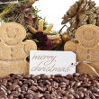 Christmas decoration with cookies and coffee beans — Stock Photo #18396369