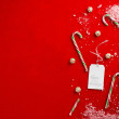 Close up shot of a broken candy canes with happy holidays tag — Stock Photo
