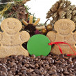 Coffee grains and christmas decoration — Stock Photo