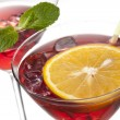 Foto Stock: Glasses of strawberry drinks